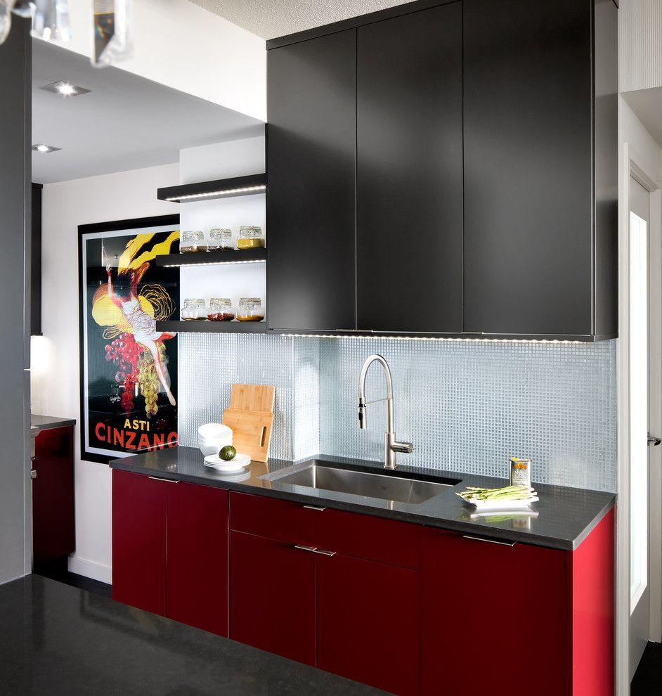 Modern Küchengestaltung Farbidee Rot Schwarz