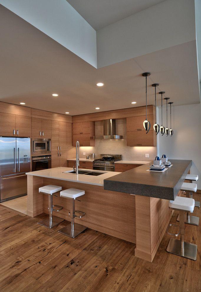Modern Küchenideen Holzfronten Marmor Arbeitsplatte