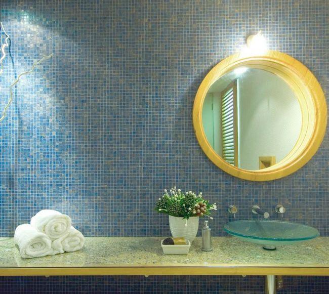 Naturnah Farbkombination blau gelb rund Spiegel