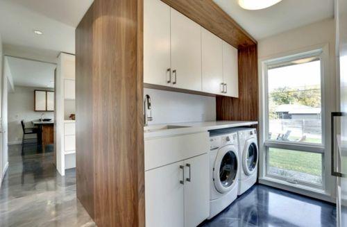 Offen kompakt Waschküche Schranktürfronten weiß
