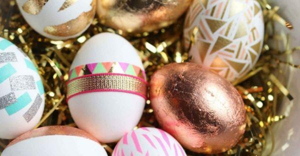 Ostern Ostereier Goldoptik Festtafel