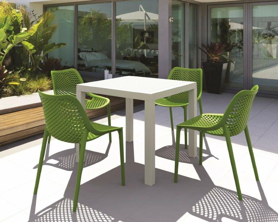 Outdoor-Gestaltung Tisch eckig Kunststoff weiß