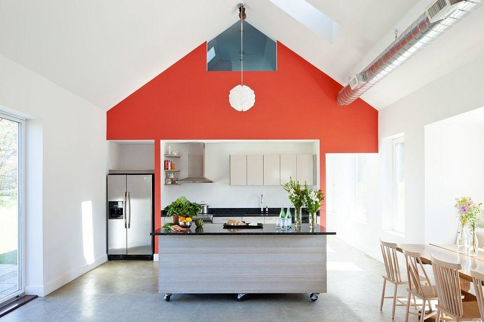 Passivhaus Giebeldach Lüftungsanlage Wohnküche