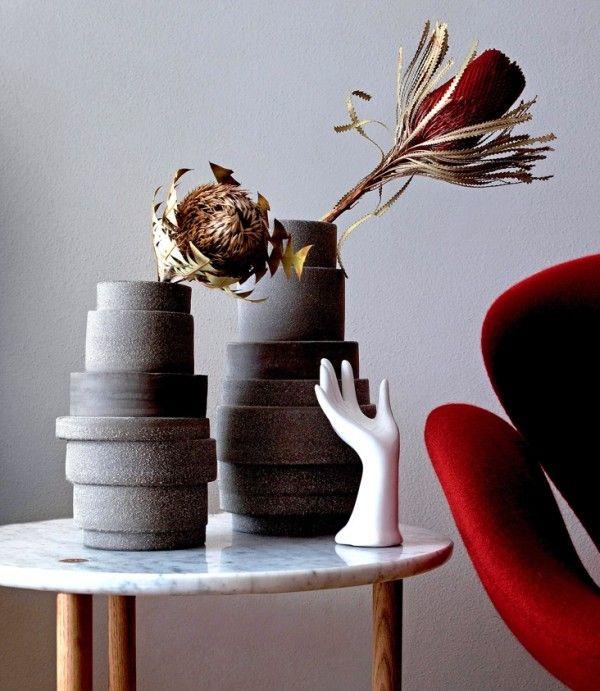 Pflanzkübel Keramik asymmetrisch Kreise