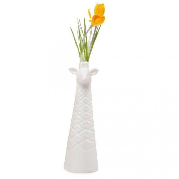 Porzellan Vase weiß Giraffen Design
