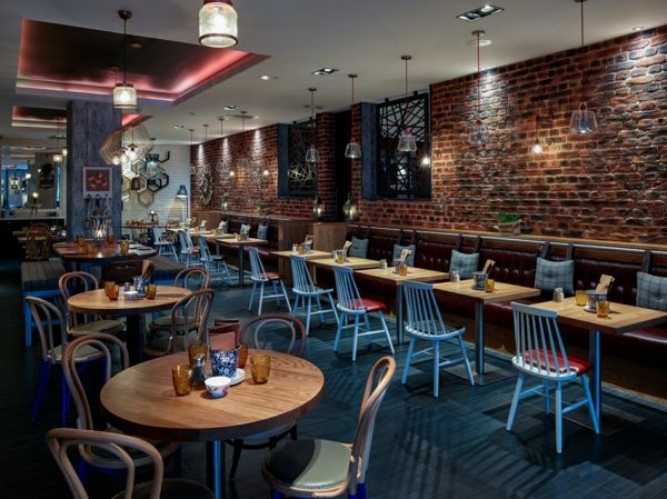 Raumklima Restaurant Wandverkleidung Faux Ziegelwand Optik