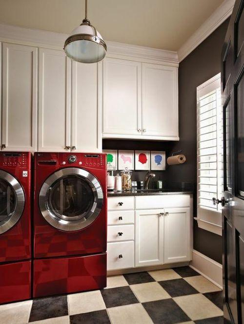 Retro modern Feuchtraum rot Waschmaschinen