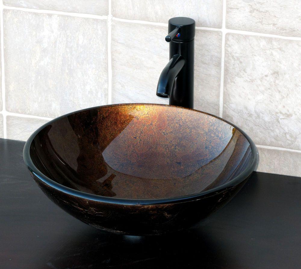 Rund Hartglas Aufsatz Waschbecken braun