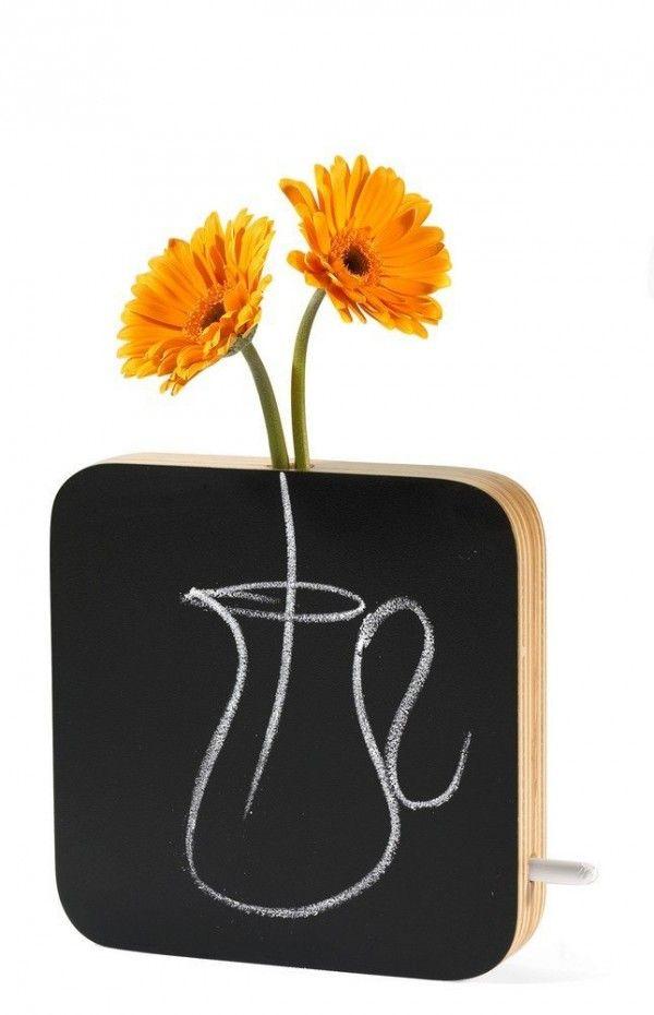 Schiefertafel schwarz bemalbar Blumenvase
