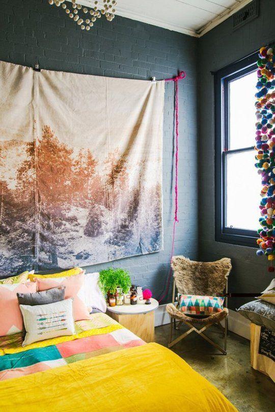 Schlafzimmer Boho Chic Dekor Fototeppich