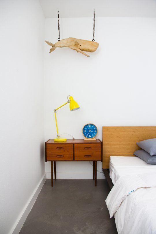 Schlafzimmer Retro Nachttisch Holz eklektisch