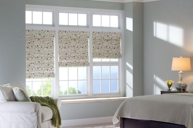 Schlafzimmer Sonnenschutz Faltrollos weiß verziert