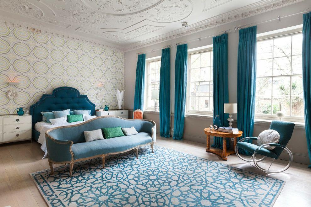 Schlafzimmer Wohnidee Teppich quadratisch blau