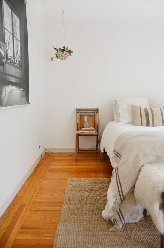 Schlafzimmer eklektisch Hanfteppich Erdtöne