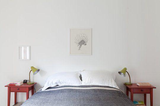 Schlafzimmer minimalistisch Akzentwand Charakterskizze