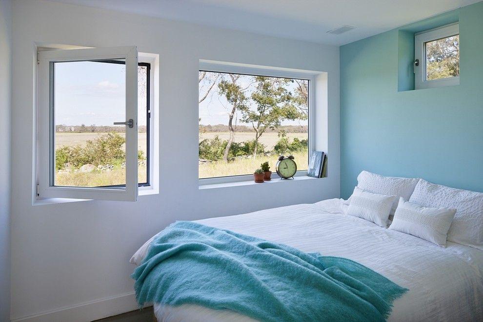 Schlafzimmer weiß blau Blick Natur