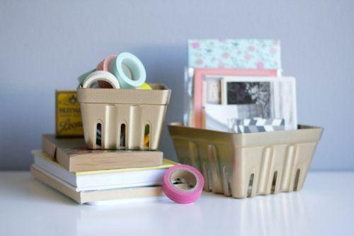 Schreibtisch Organisation DIY bemalt Kunststoff Schalen