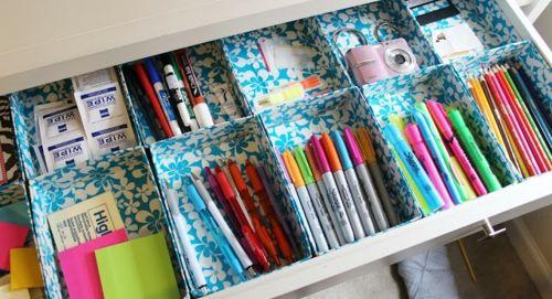 Schubladen Organisation DIY farbig Klebeband