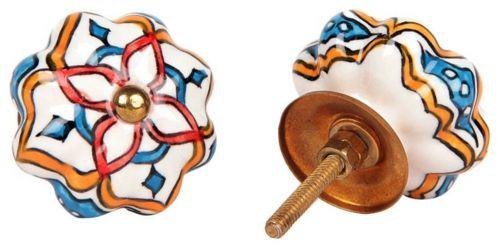 Schubladen Tür Griff Vintage Porzellan weiß blau rot
