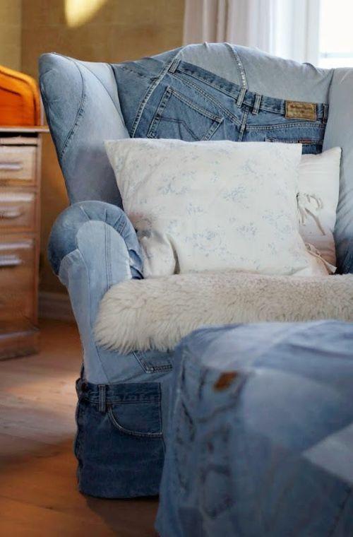 M bel aus denim stoff vintage charme und kultiger look for Ohrensessel jeans