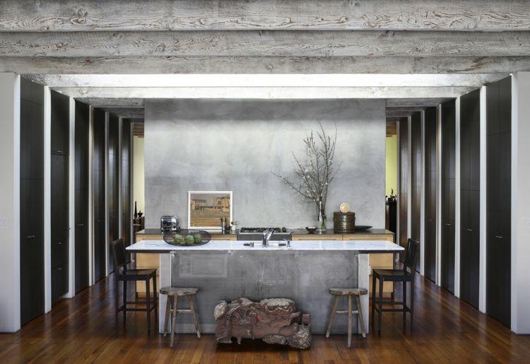 Sichtbeton Holz Küchensystem ungewöhnlich rustikal