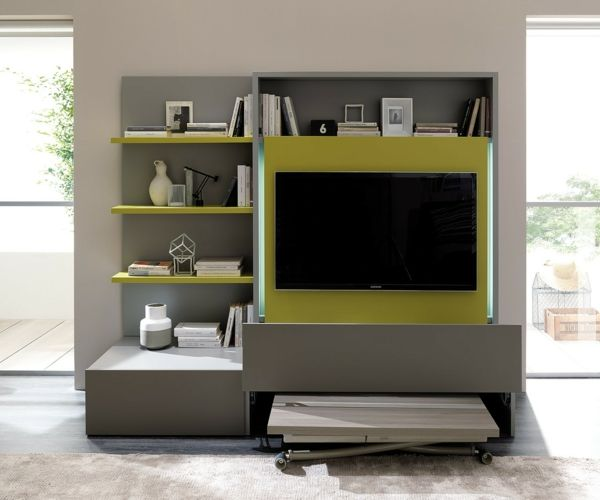 TV-Schrank innovativ Smartliving raumsparend grau senfgelb