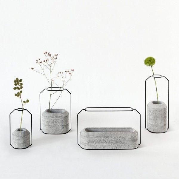 Vasen-Set Beton Draht minimalistisch