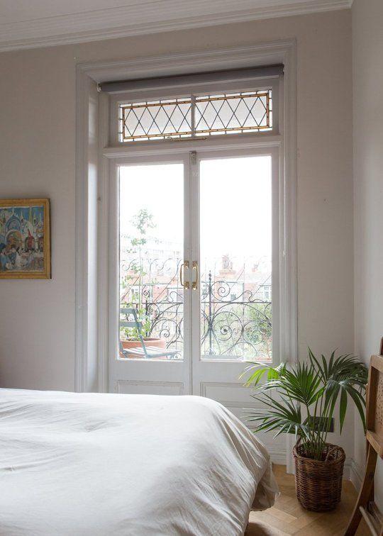 Vintage Einrichtung Schlafzimmer weiß Balkontür Design