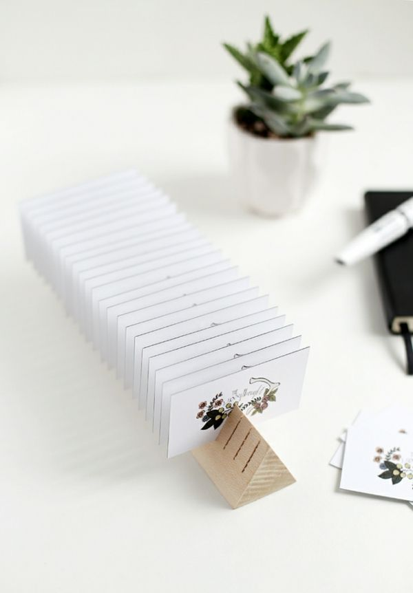 Visitenkartenhalter DIY Holzblock Büroaccessoires