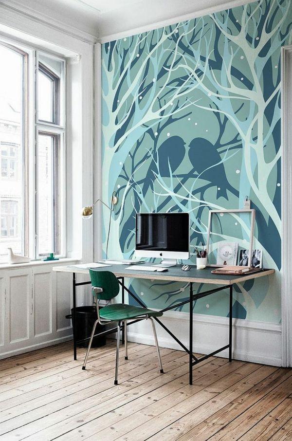 Wandbild Heimbüro Vögel Baum blau