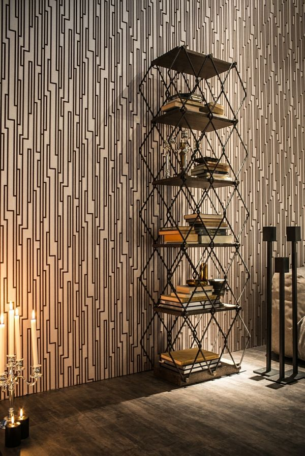 Wanddeko geometrisch Muster Tapete Bücherregal