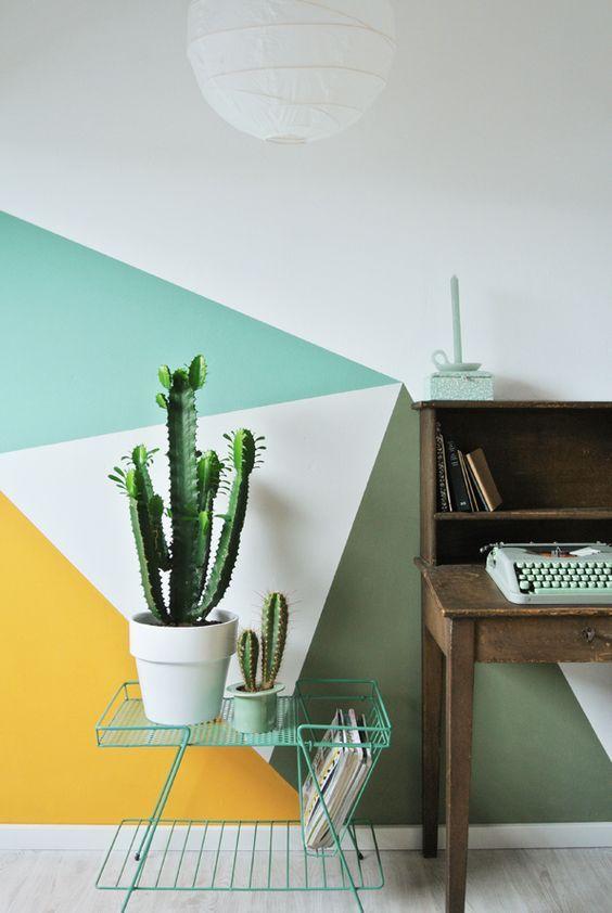 Wanddekor Dreiecke geometrisch Senfgelb Olivgrün Türkis