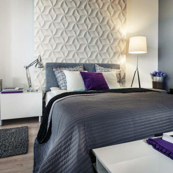 Wanddekor Effektoptik Schlafzimmer weiß