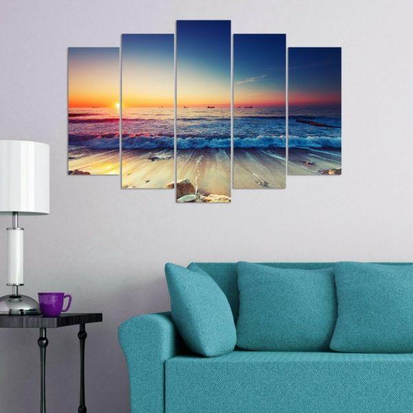 Wanddekor Leinwandbild Wohnzimmer Sonnenuntergang