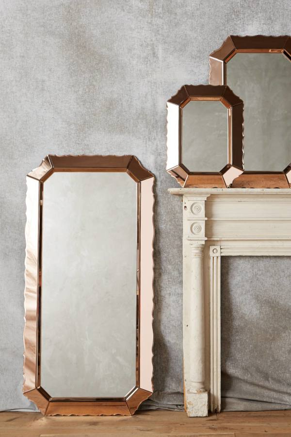 Wandspiegel roségolden Rahmen üppig