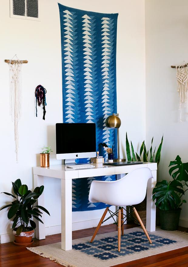 Wandteppich Teppichläufer Ethno Muster modern blau