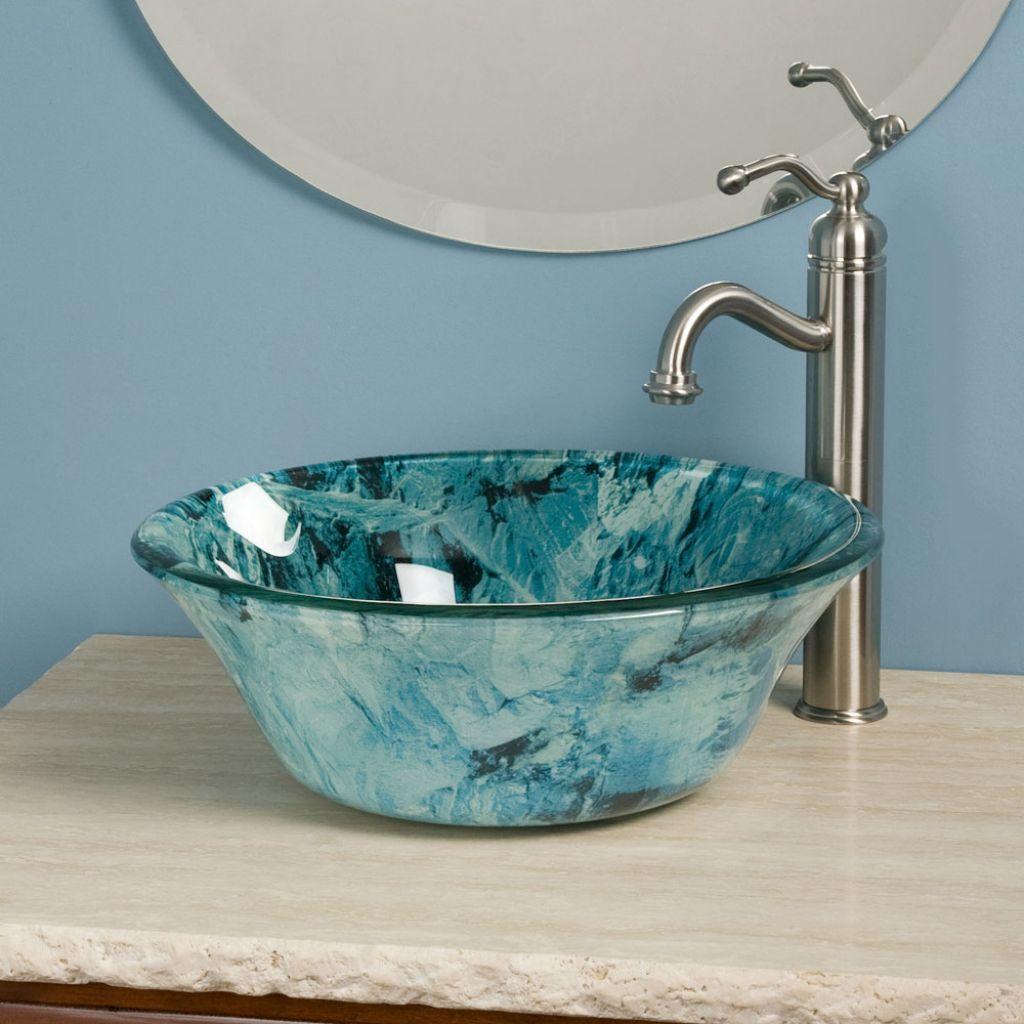 Waschbecken Hartglas Gebirgsmotiv Blau