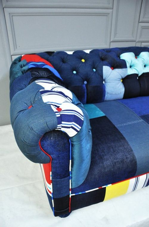 Wohndesign Chesterfield Sofa Jeans Look Patchwork