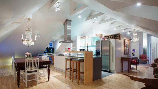 Wohnküche Dachgeschoss optisch Bereich Aufteilung