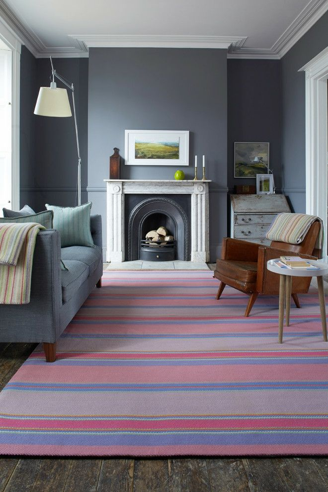 Wohnzimmer Bodenbelag Naturfaser Gestreift Rosa Violett