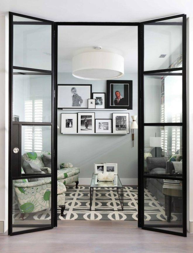 Wohnzimmer Innetüren Teppich rechteckig anthrazit weiß