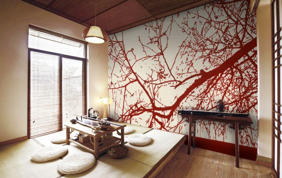 Zen-Stil Zimmer Einrichtung Holz Weiß Beige