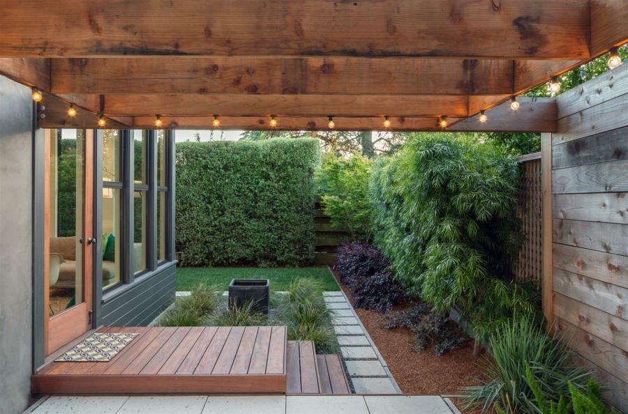 Zen-Stil minimalistisch Garten Grüne üppig