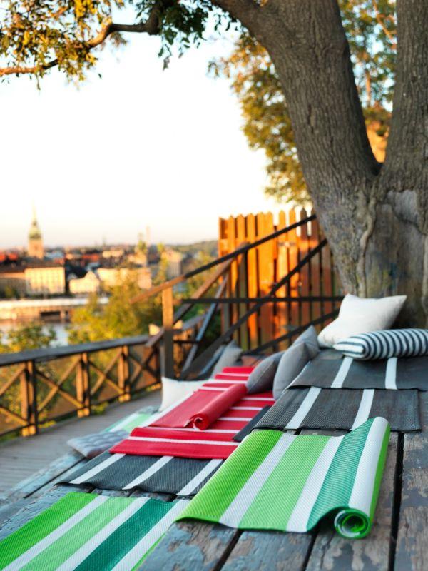 Accessoires Garten Outdoor Teppich gestreift Sitzmöglichkeit