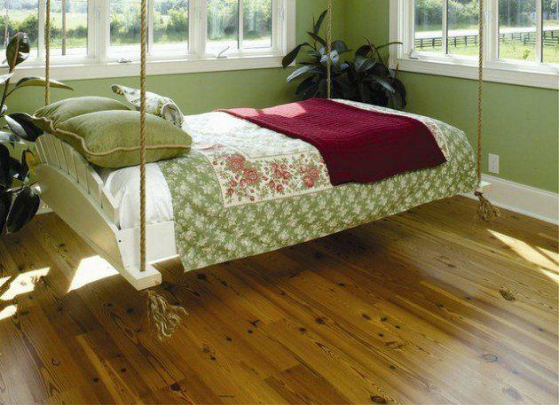 Aufenthaltsraum schwebend Bett Hängebett rot grün Entspannung