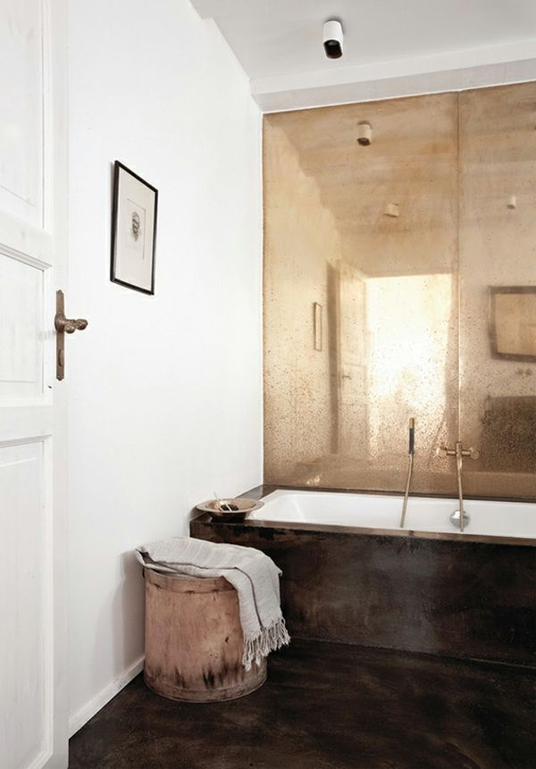 Bad Badewanne Wandverkleidung antik Look