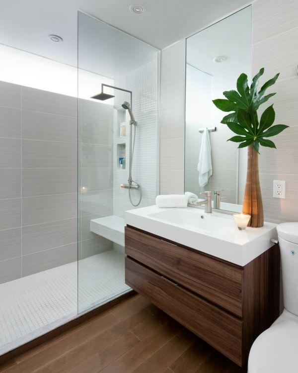 Badezimmer Gestaltung Holzfronten Duschkabine Retro
