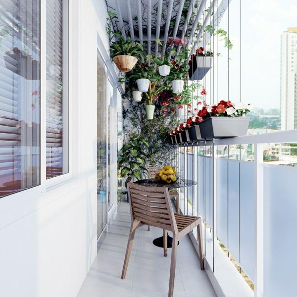 Balkon schmal hängend Pflanzen Geländer Blumenkästen