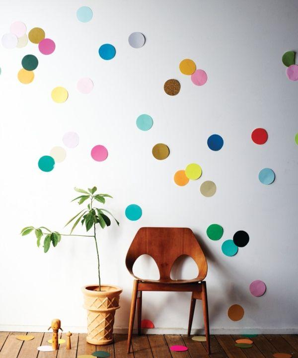 Bunt Papier Konfetti Wandgestaltung DIY