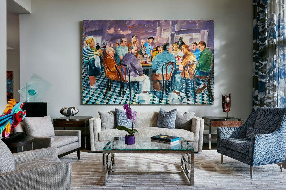 Chic Wohnzimmergestaltung texturreich großes Wandbild